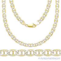 Sterling Silver 14k Yellow Gold Marina Mariner Link 4.4mm Italian Chain Necklace