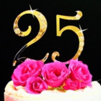 French Flower ~ Small Number Birthday Anniversary Wedding Cake Topper Set