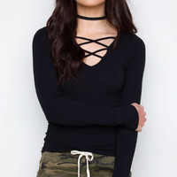 From The Heart Crisscross Top - Black