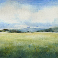 """Grassy Field Watercolor Painting, Landscape, Small Watercolor, Original Aquarelle, 11,7"""" x 8,3""""  Small Painting Field by Dorota Polland"""
