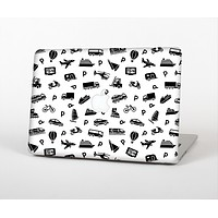 """The Black and White Travel Collage Pattern Skin for the Apple MacBook Air 13"""""""