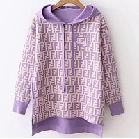 FENDI Popular Women Casual F Letter Long Sleeve Hooded Knit Sweater Top Sweatshirt White/Purple