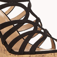 Cutout Cork-Wrapped Wedges | FOREVER 21 - 2046722056