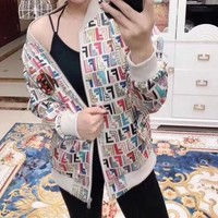 """Fendi"" Women Retro Multicolor F Letter Zip Cardigan Long Sleeve Jacket Coat"