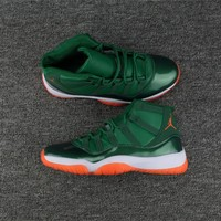 Girls Air Jordan 11 Miami Hurricanes Pe Green White Orange - Beauty Ticks