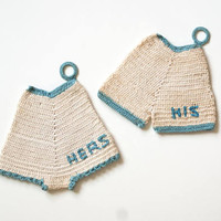 Vintage Handmade His Hers Pot Holders Teacup Coasters, 1940s Crochet Bloomers Underwear Heat Pads, Granny Cottage Chic