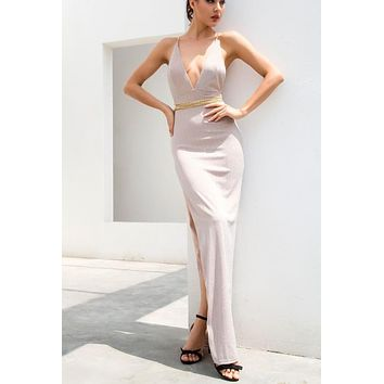 Kelly V-Neck Luxe Gold Chain Gown