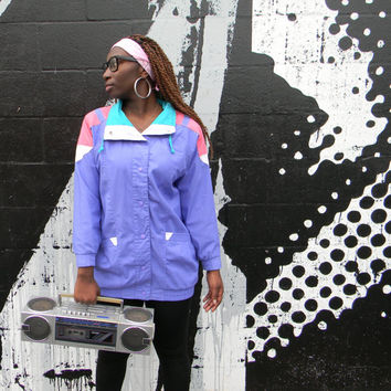 Vintage 80s 90s Geometric Jacket - Lavender, Teal Green, White, and Pink Cotton Windbreaker - Hip Hop SNAP Up Bomber, Size Small S Medium M