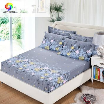 3pcs set Bedding rubber fitted bed sheet +pillowcase gray flower elastic bed cover summer mattress cover bedclothes bedspread