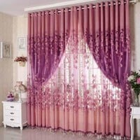 High Quality Upscale Floral Tulle Room Door Blackout Window Curtain Drape Panel Sheer Scarf Blackout Curtains for the Bedroom