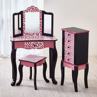 Teamson Kids Hot Pink Leopard Print Fashion Prints Vanity Set with Mirror