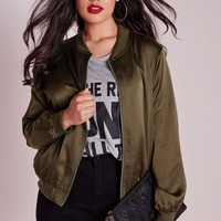 Missguided - Plus Size Silk Bomber Jacket Khaki
