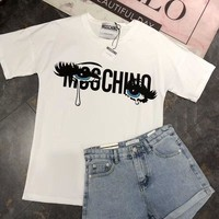 Moschino 2018 latest women's tearful eyes short-sleeved T-shirt F-AA-XDD