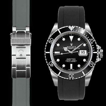 Curved End Rubber Strap for Rolex Submariner Deployant