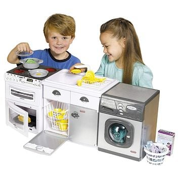 Kids Pretend Play Interactive Realistic Washing Machine,Stove & Sink Playset Bundle