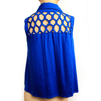 Women's Bright Blue Loose Blouse, Loose Top, Ladies clothes, Sleeveless Top, Summer Blouse, Button Up Shirt