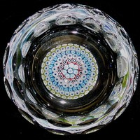 205016 Whitefriars Paperweight Ash Tray W/ Millifiore Center & Cuts