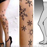 l/xl sexy and elegant SNOW QUEEN TATTOO stockings/ full length / pantyhose / nylons light mocha