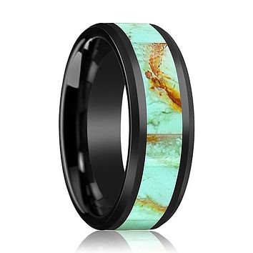 EDWARD Men's Black Ceramic Ring with Light Blue Turquoise Stone Inlay and Bevels - 8MM