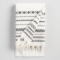 Ivory and Black Tribal Striped Zohra Hand Towel