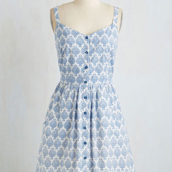 Mata Traders Eco-Friendly Mid-length Spaghetti Straps A-line Can't Bold It In Dress in Delft