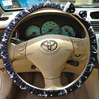 Steering Wheel Cover Navy & White Anchor Fabric w/White Bow, Teen, Girl, Women, Gifts, Car, Auto accessories, Anchor, Sailor