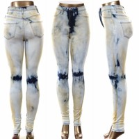 High Waist Vintage Wash Skinny Jeans With Stained Accents Made in USA Sizes 1-15