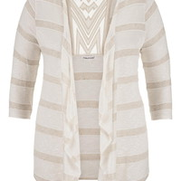 Plus Size - Geometric Crochet Back Striped Cardigan - Beige