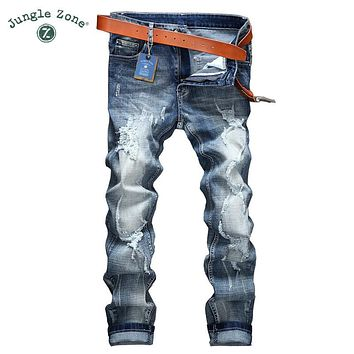ripped Jeans men clothing high quality male jeans fashion casual mens denim pants trouser for men