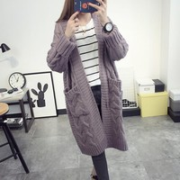 Long Sleeve Plus Size Solid Cardigan Women Sweater