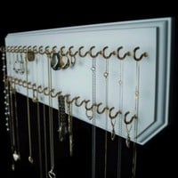 6x20-White 37-Gold, Jewelry Organizer, Necklace Holder, Wall Mount Display rack