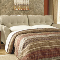 Laryn collection khaki colored fabric upholstered queen sleeper sofa with flared arm