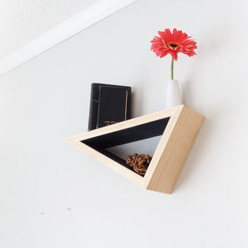 Triangular Wall Shelf - Maple with Grey Accent