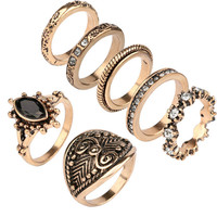 7PCS Vintage Turkish Beach Punk Moon Arrow Ring Set Ethnic Carved Silver Gold Plated Boho Midi Finger Ring Knuckle Charm anelli