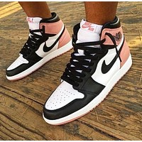 NIKE AIR JORDAN 1 Popular Women Men Casual Sport Shoes Sneakers Black&Pink