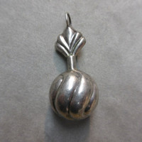 Vintage Sterling Silver Perfume Snuff Bottle With Dabber Pendant signed