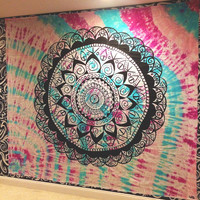 Handmade Large Painted Tie-Dye Tapestry