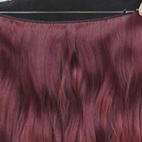 Wine Red Hair Extension Flip in Wavy Hair Extension Synthetic Hairpiece