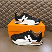HERMES  Men Fashion Boots fashionable Casual leather Breathable Sneakers Running Shoes07060cc