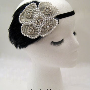 The Maude - 1920s style flower headpiece silver, flapper feather headdress, Great Gatsby party, burlesque headpiece, black sequin headband