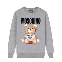 MOSCHINO Autumn Winter Cute Bear Print Round Collar Sweater Sweatshirt Grey