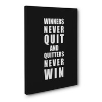 Winners Never Quit - Sports Quote Canvas
