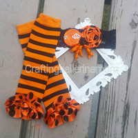 Halloween Leg Warmer Set, Striped Leggings, Baby Girl Halloween Outfit, Girls Leggings, Baby Leg Warmers, Halloween Headband, Orange