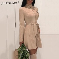 JULISSA MO Suede Leather Vintage Zipper Bandage Dress Women 2018 Autumn Long Sleeve Turtleneck Sexy Mini Party Dresses Vestidos
