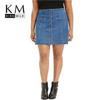 Kissmilk  Women Plus Size Single Button Pockets Casual Loose Big Large Size 3XL 4XL 5XL 6XL A-Line Denim Skirt