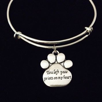 You Left Paw Prints On My Heart Adjustable Bracelet Pet Memorial Expandable Charm Bangle Wire Silver Animal Lover Gift
