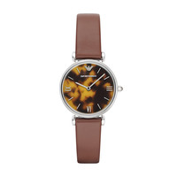 ARMANI WATCH SIGNATURE WOMEN RETRO LEATHER GIANNI T-BAR STAINLESS STEEL AR1873