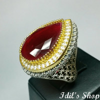 Authentic Turkish Ottoman Style Handmade 925 Sterling Silver Ring With Ruby Stones. Also Known As Hurrem Ring