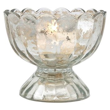 Vintage Mercury Glass Candle Holder (3-Inch, Suzanne Design, Sundae Cup Motif, Silver) - For Use with Tea Lights - Home Decor and Wedding Decorations