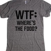WTF: Where's The Food?-Unisex Athletic Grey T-Shirt